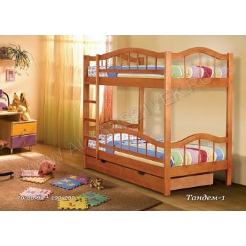 Кровать Тандем-1 двухъярусная с ящиками для белья