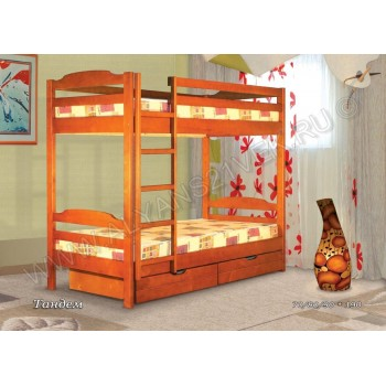 Кровать Тандем двухъярусная с ящиками для белья